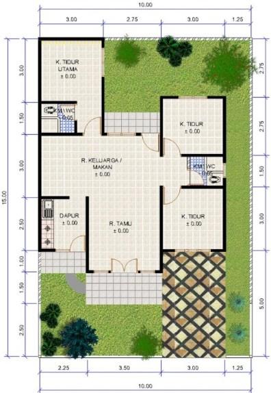 Denah Rumah Sederhana 3 Kamar