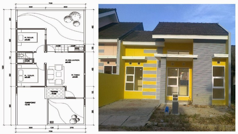 Denah Rumah Sederhana Lantai 1