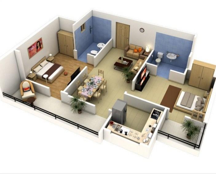 Denah Rumah Sederhana Minimalis 3d