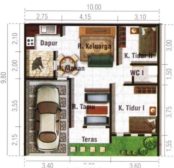 21 Denah Rumah Minimalis 2 Kamar 1 2 Lantai 2021