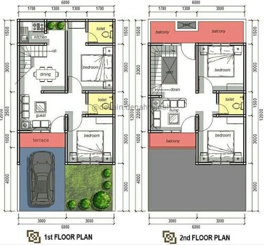 Denah Rumah Type 45 Minimalis Terbaru