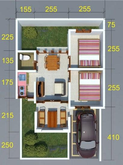 Denah Rumah Type 54 Dengan 2 Kamar Tidur