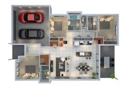 Denah Rumah Type 60 3d