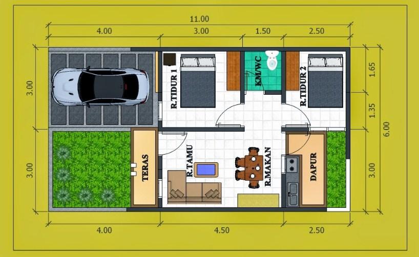 30 Denah Rumah Type 60 1 2 Lantai Desain Minimalis