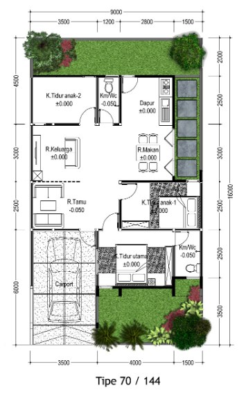 Contoh Denah Rumah Persegi Panjang 15 denah rumah type 70 minimalis desain 1 2 lantai