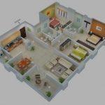 Desain Denah Rumah Minimalis 3 Kamar Tidur 3d