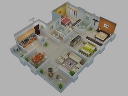20 Desain Denah Rumah Minimalis 3 Kamar Tidur 2019 Terbaru