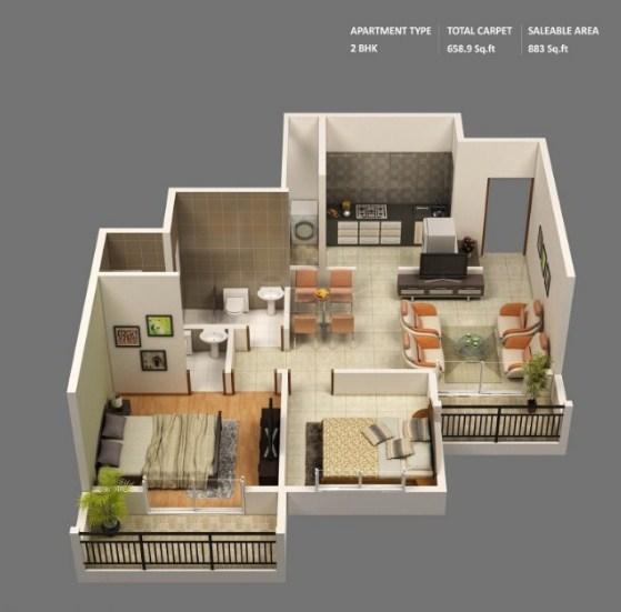 Gambar Denah Rumah 2 Kamar Tidur
