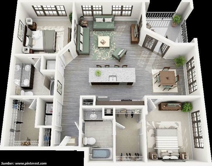 Gambar Denah Rumah 3d 2 Kamar