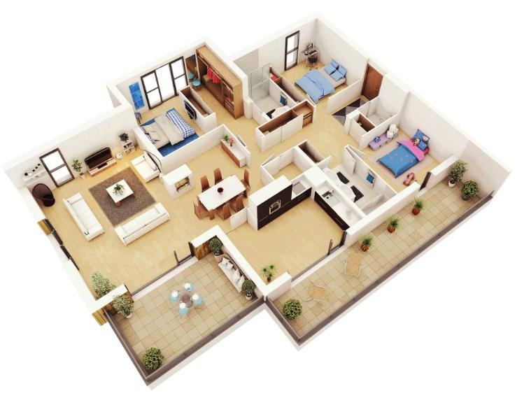 Gambar Denah Rumah 3d 3 Kamar