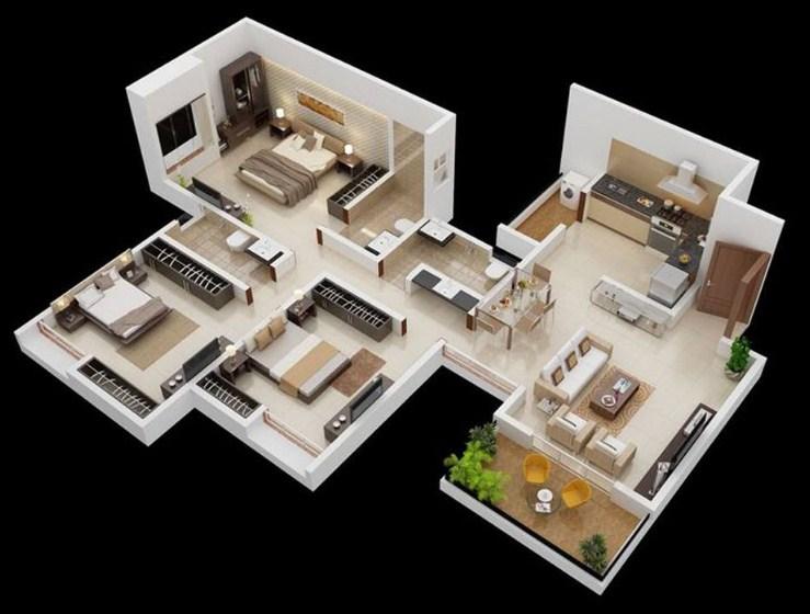 Gambar Denah Rumah Minimalis 2 Lantai 3d