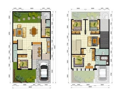 Gambar Denah Rumah Minimalis 2 Lantai Terbaru