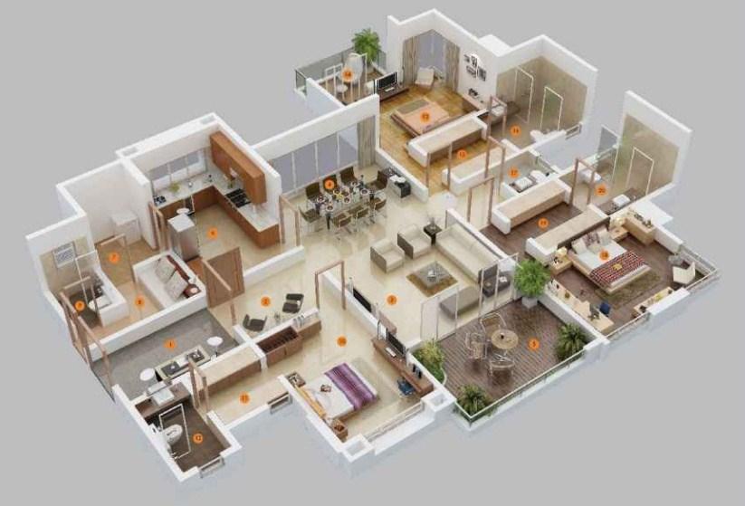 Gambar Denah Rumah Minimalis 3d 2019