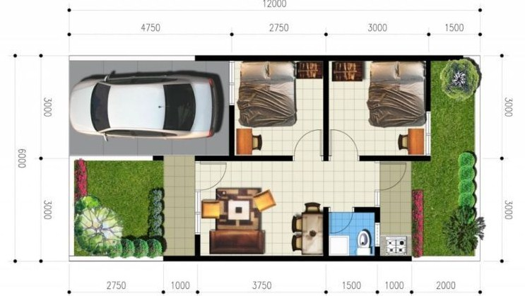 Gambar Denah Rumah Minimalis Type 36