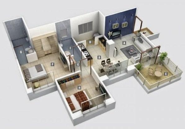 Gambar Denah Rumah Sederhana Minimalis 3d