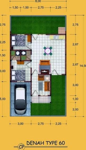 Gambar Denah Rumah Type 60 2 Kamar