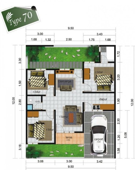 15 Denah Rumah Type 70 Minimalis Desain 1 2 Lantai