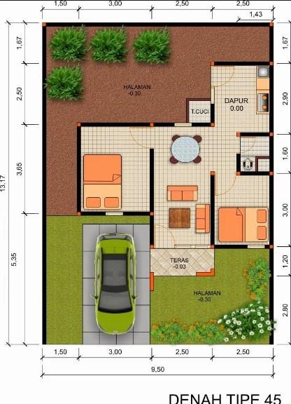 Gambar Desain Denah Rumah Type 45