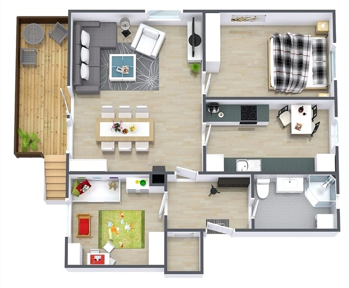 Gambar Desain Rumah 2 Kamar Tidur