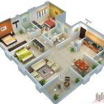 Rumah Minimalis 3 Kamar Tidur 3d