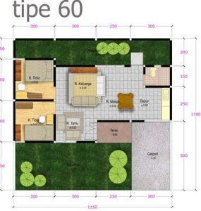 30 Gambar Denah Rumah Type 60 Minimalis 2019 Terbaru ...