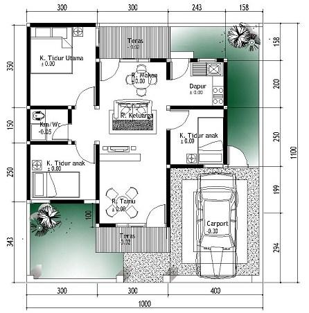 Sketsa Rumah Sederhana Bentuk L