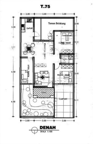 Sketsa Rumah Sederhana Hitam Putih