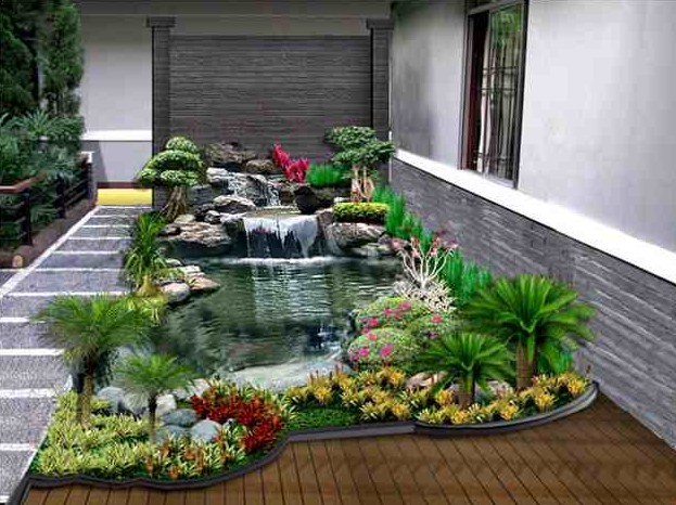 27 Desain Taman Minimalis Dengan Kolam Ikan Hias