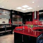 Desain Kabinet Dapur Hitam Merah