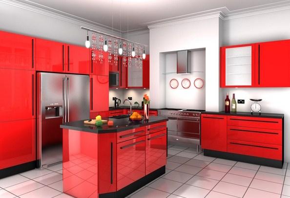 Desain Kabinet Dapur Warna Merah