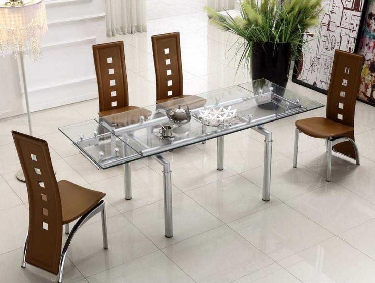 Meja Makan Kaca Kaki Besi