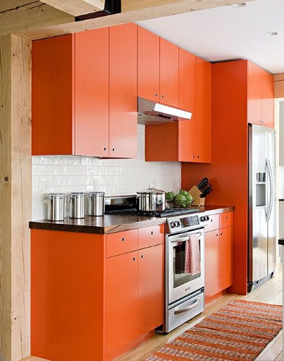 Model Lemari Dapur Warna Orange