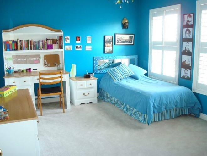 Warna Cat Kamar Tidur Anak Perempuan Biru Muda Minimalis