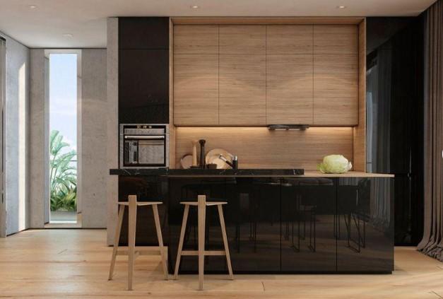 Desain Dapur Cantik Kayu Futuristik