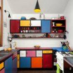 Desain Dapur Kecil Bentuk U Warna Warni