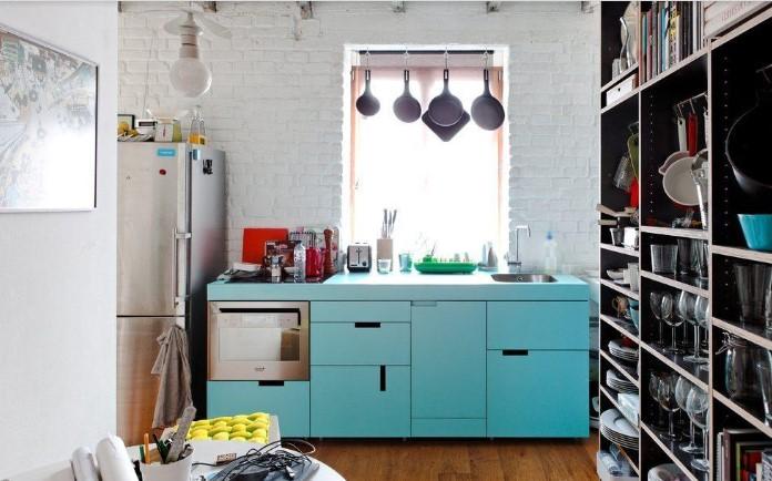 Desain Dapur Sederhana Dengan Kabinet Bebas Pintu