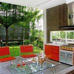 Desain Dapur Terbuka Minimalis Semi Outdoor Dengan Taman Rumah
