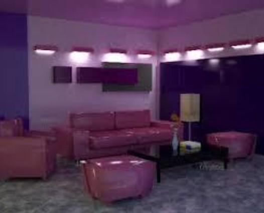 Kombinasi Cat Ruang Tamu 2 Warna Ungu Muda