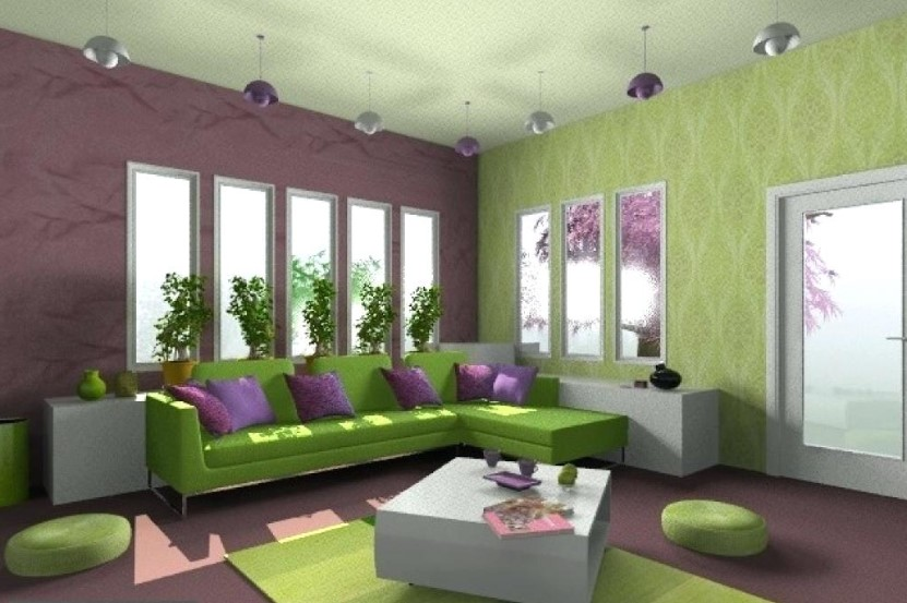 Kombinasi Cat Ruang Tamu Dengan Wallpaper