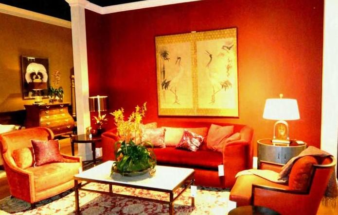 Kombinasi Cat Ruang Tamu Warna Orange dan Coklat