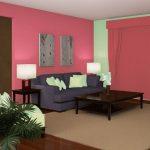 Warna Cat Ruang Tamu 2 Warna Pink