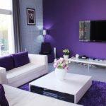 Warna Cat Ruang Tamu 2 Warna Ungu dan Putih