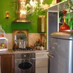 Desain Dapur Kecil Warna Hijau