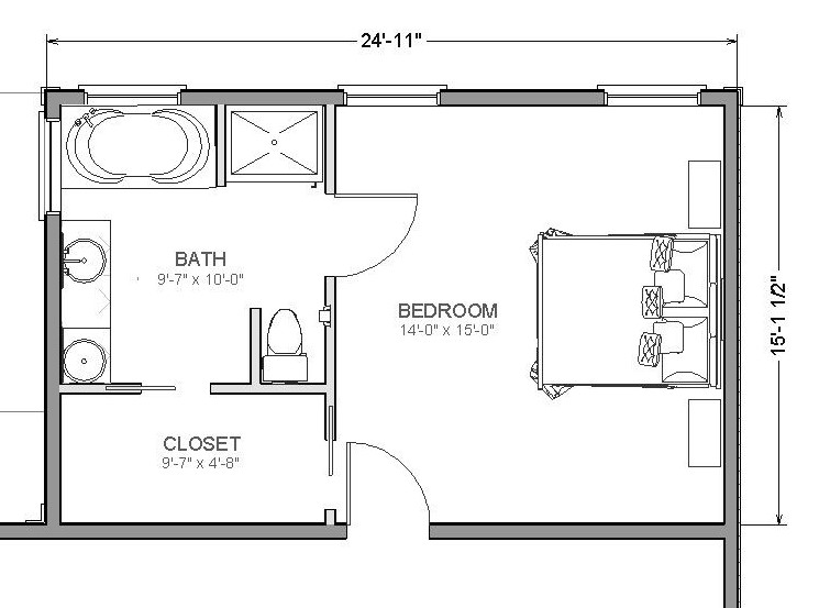 bathroom plan in the bedroom