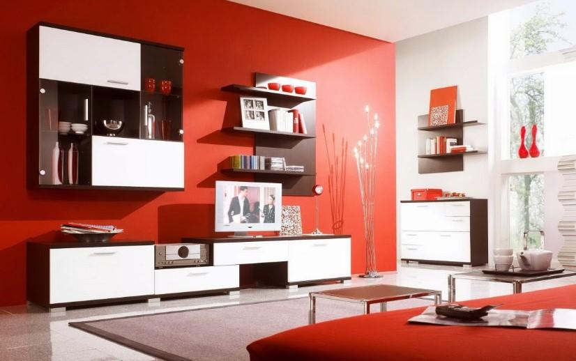 Cat Ruang Tamu Minimalis Warna Merah