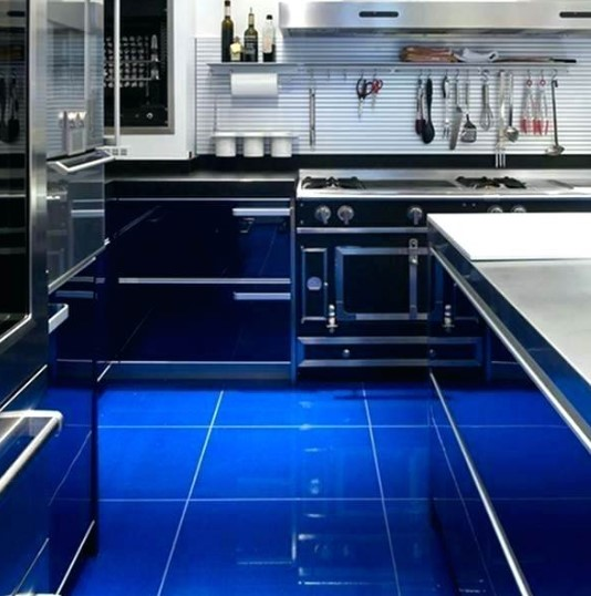 Ceramic Kitchen Floor Design in Blue