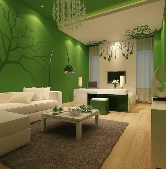 Desain Ruang Tamu Minimalis Hijau