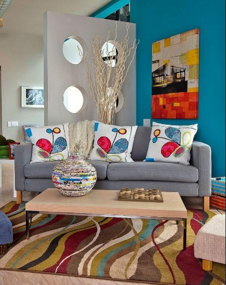Desain Ruang Tamu Minimalis Warna Biru