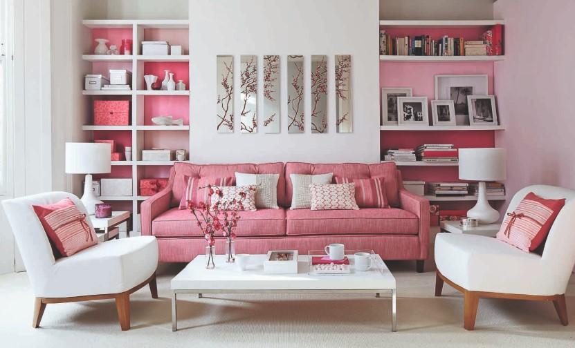 Desain Ruang Tamu Minimalis Warna Pink