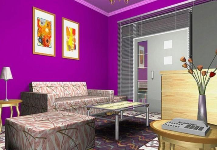 Warna Cat Ruang Tamu Ungu Minimalis
